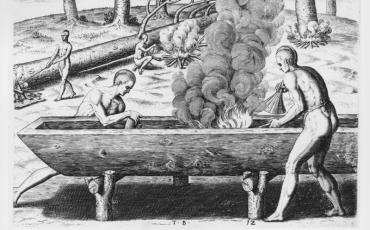 Construcción de canoa, 1590. Teodoro de Bry