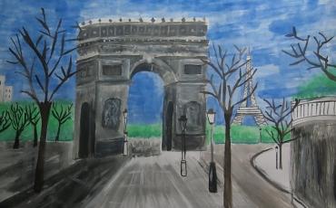 1er lugar de la categoría de 9 a 12 años del concurso infantil Dibujando Europa 2018