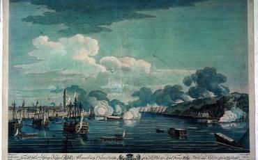 Vista en perspectiva del gran ataque contra la ciudad y el Castillo de La Punta en la mañana del 13 de agosto de 1762