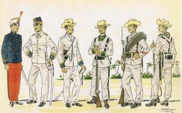 Dibujo de soldados españoles en campaña. Cuba
