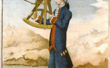 Oficial usando el octante de reflexión. Cortesía del Museo Naval de Madrid