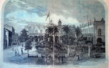 La Plaza de Armas de La Habana mostrando el Palacio del Capitán General, 18 de septiembre de 1869