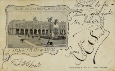 Plaza de Armas, inicios del siglo XX. Tarjeta postal circulada en 1902. Archivo Histó