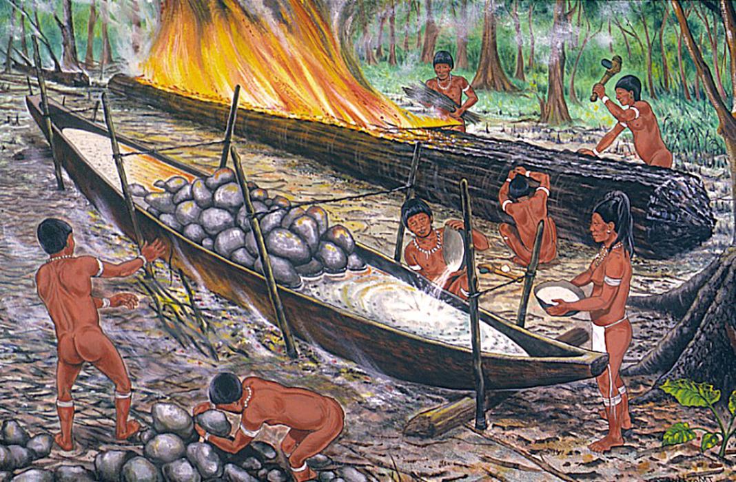 Dibujo reconstructivo donde se aprecian las técnicas empleadas por los agroalfareros aruacos (taínos) en la construcción de canoas.