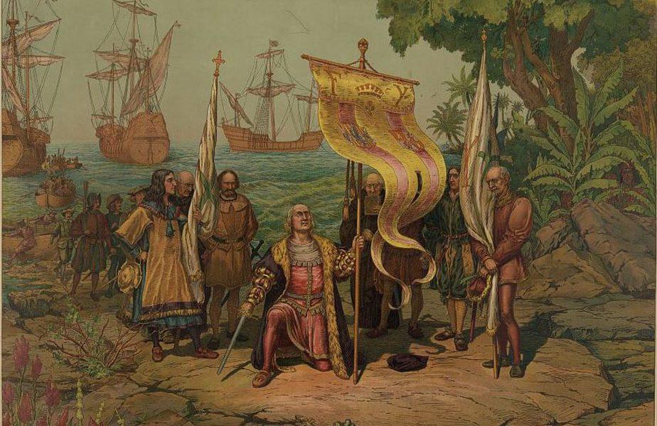 Pintura de 1893 que muestra a Cristobal Colón a su llegada al Nuevo Mundo